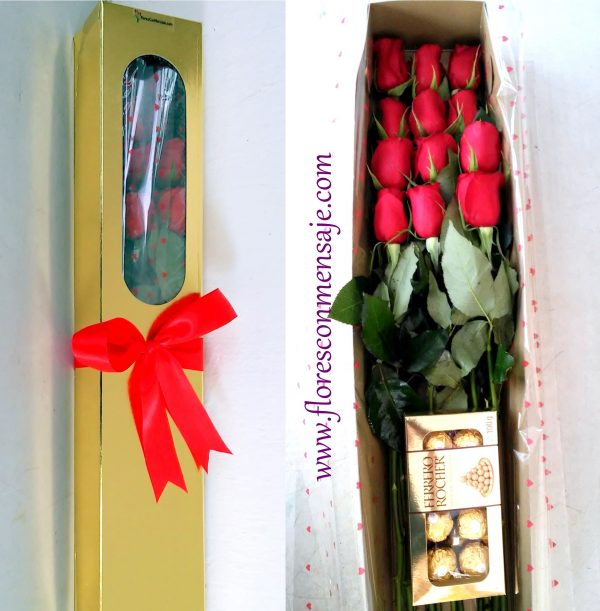 i3 Caja de docena de rosas con Ferrero