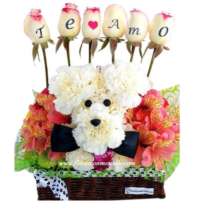 A2 Perrito o Perrita de flores | Flores Con Mensaje