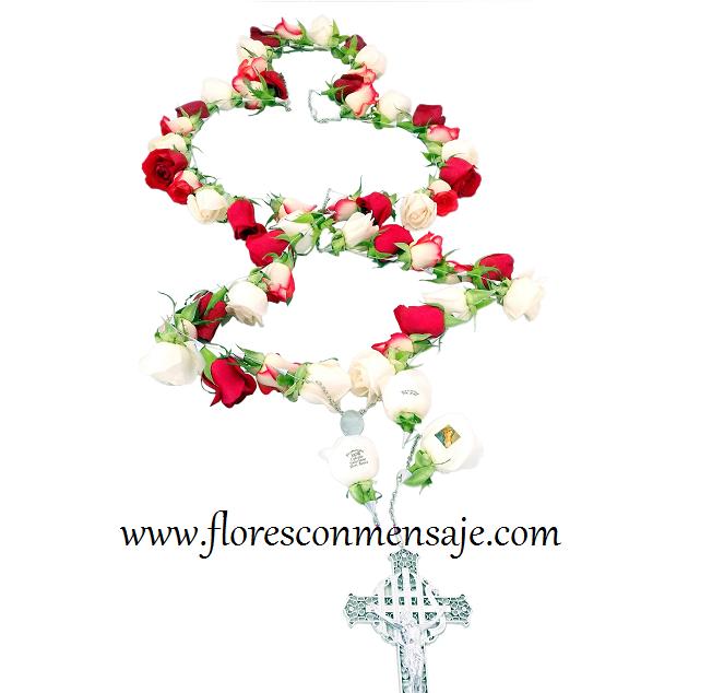 Rosario Grande Flores Con Mensaje