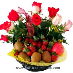 C9 Canasta de rosas y frutas